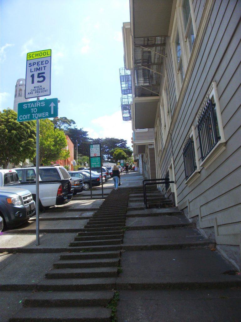 San Francisco Street stairs on my walk to the Alcatraz boat