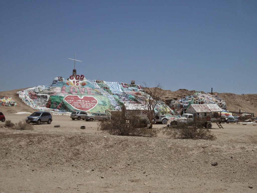 Salvation Mountain created with clay and cement