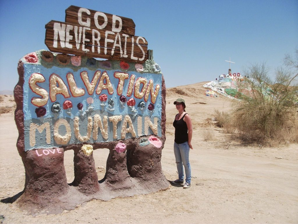 The sign at the entrance to the Salvation Mountain site