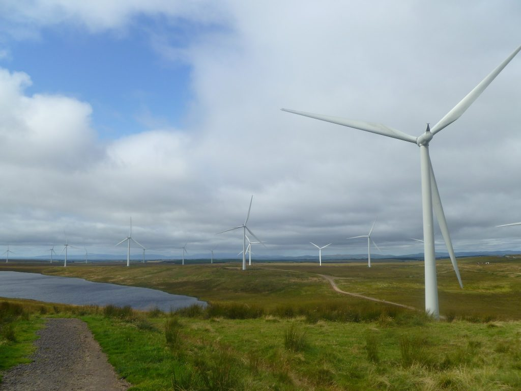 Views over Whitelee Windfarm and Eaglesham Moor