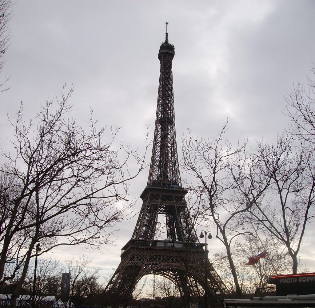 The Eiffel Tower against the Parisian grey sky
