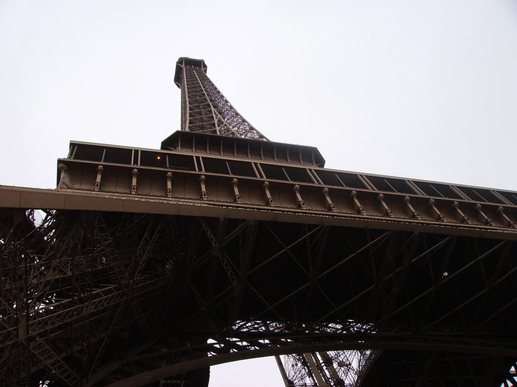 Looking upwards at the Eiffel Tower
